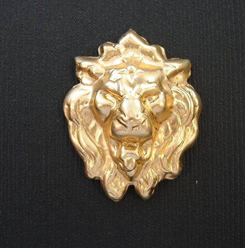 BeadsTreasure 2-Lion Roaring Head Embellishment Raw Brass Stamping Pendant