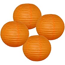 "Just Artifacts 8"" Red Orange Paper Lanterns (Set of 4) - Click for more Chinese/Japanese Paper Lantern Colors & Sizes!"