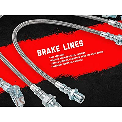 Rough Country 89715 Extended Stainless Brake Lines Front/Rear fits 1987-2006 Jeep Wrangler TJ YJ | 84-01 Cherokee XJ: Rough Country: Automotive