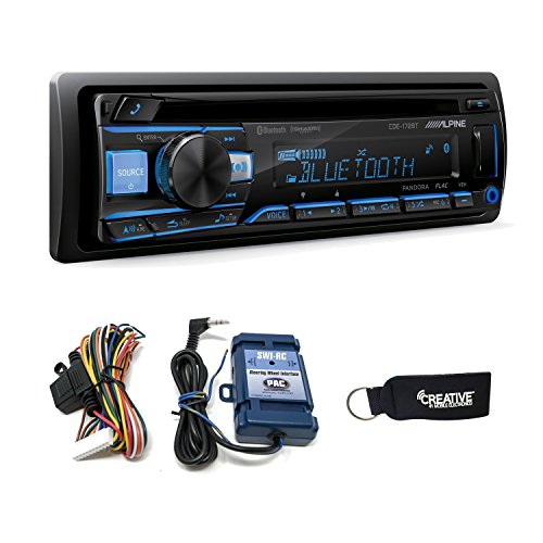 Alpine CDE-172BT CD Receiver with Bluetooth & PAC Audio SWI-CP2 Steering Wheel Control Interface (Alpine Iphone Car Stereo)
