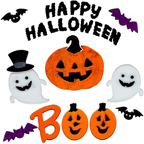 Halloween Window Clings BOO Pumpkins Gel Charms