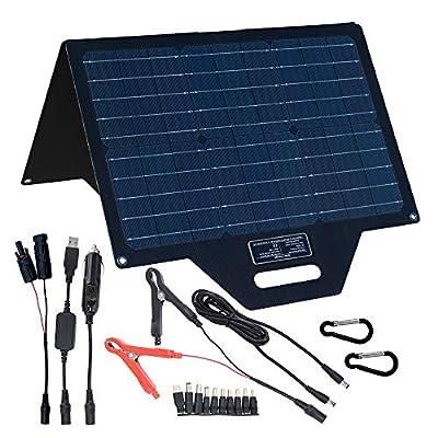 TP-solar 60 Watt Foldable Solar Panel Battery Charger Kit for Portable Generator Power Station Cell Phones Laptop 12V Car Boat RV Trailer Battery Charge (Dual 5V USB & 19V DC Output) : Garden & Outdoor