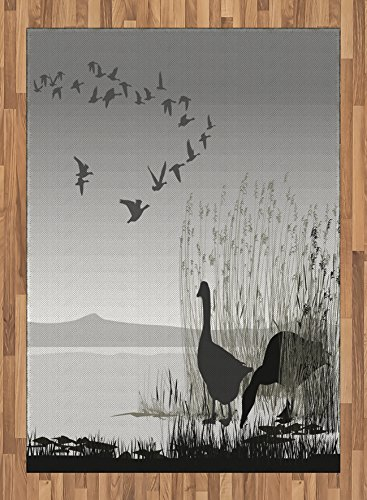 Africa Area Rug by Lunarable, Silhouette of a Geese by the Frozen Lake Flying Autumn Birds in the Sky Scenery, Flat Woven Accent Rug for Living Room Bedroom Dining Room, 5.2 x 7.5 FT, Blue Black by Lunarable