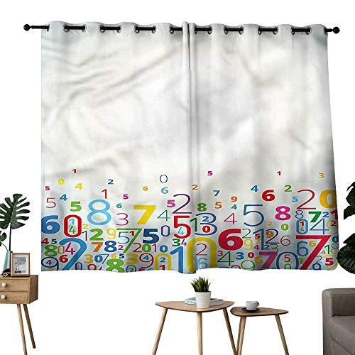 Beihai1Sun Family Darkening Curtains Grommets Curtain for Kitchen Window Mathematics Classroom,Colored Digit Curtains/Panels/Drapes W72 x L63