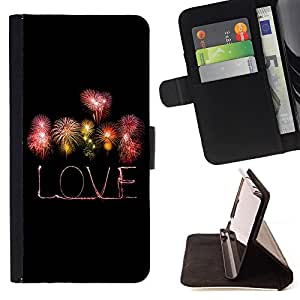 King Air - Premium PU Leather Wallet Case with Card Slots, Cash Compartment and Detachable Wrist Strap FOR Sony Xperia Z1 M51W Z1 mini D5503- Love the Life Live