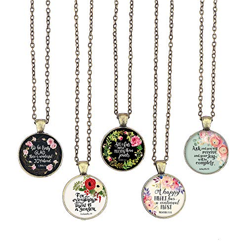 BUENAVO Bible Verse Pendant Necklace Christian Songs and Hymns Glass Cabochon Pendant Inspired Necklace with 24 inches Chain Handmade for Gifts 5pcs (Bible 1, Bible Verses)
