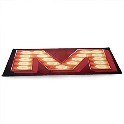 Amazon.com : Letter M Eco Friendly Yoga Mat Vintage Alphabet ...