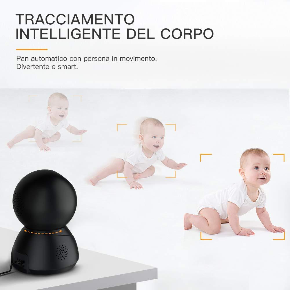 Compatibile iOS//Android Sensore di Movimento Audio Bidirezionale Videocamera IP Interno,Visione Notturna a Infrarossi Apeman 1080P Telecamera di Sorveglianza Wifi Baby Per Monitor
