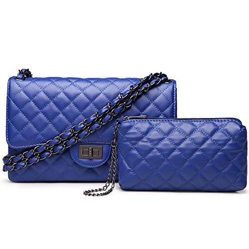Bag Gold Womens Shoulder Fashion Lock Large Blue2 Handbag Quilted Cross Twist body Chain Plaid ExdTwd