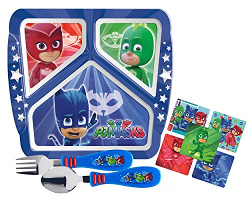 Zak! Designs Kids Toddlerific Mealtime Set Includes Sectioned Plate With Toddler Sized Fork & Spoon Featuring PJ Masks Graphics! BPA-free, 3 Pc Set.