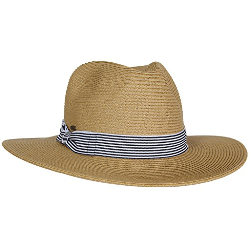 H-6114-32 Stripe Ribbon Panama Hat - Natural