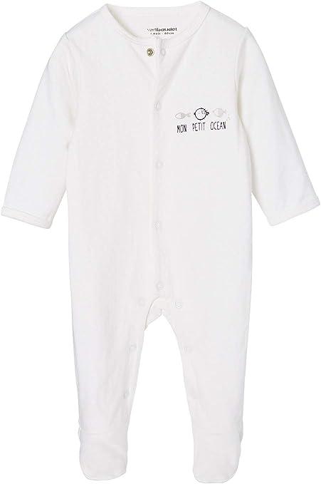 VERTBAUDET Pijama bebé recién nacido unisex de algodón Blanco claro liso con motivos 3M-60CM: Amazon.es: Bebé