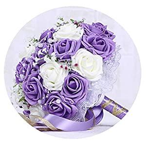 TaeHyung 2019 Wedding Bouquets Bride Holding Flowers Romantic Wedding Colorful Bride 'S Bouquet with Ribbon Pearl Lace,8 3