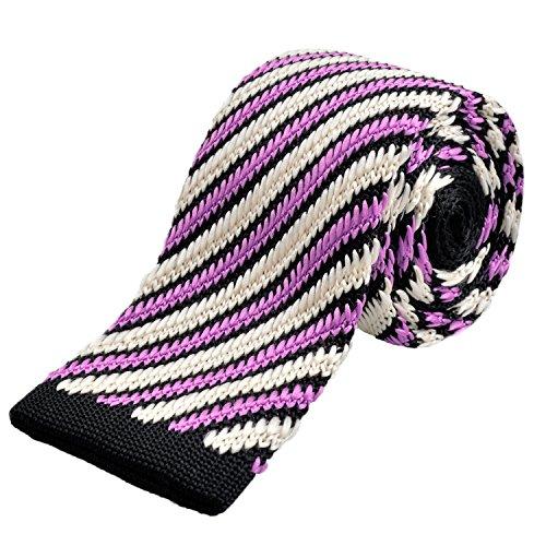 Thin Stripe Purple Plaid Tie Man a White strisce strisce Alizeal a EHx1q8Aqw