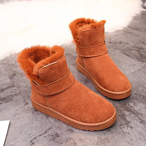 Boots Suede Tan Belt Round Toe Low Heel Ankle Flat Buckle Snow GIY Winter Snow Lined Boots Velvet Womens WEOCCqX