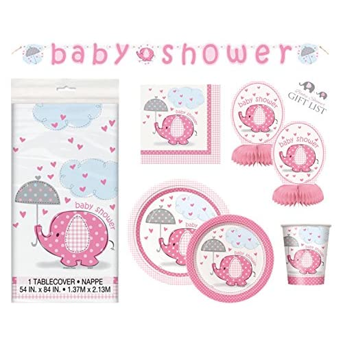 80f9b6b59e1b well-wreapped Umbrellaphants Girl Baby Shower Party Supplies Set ...