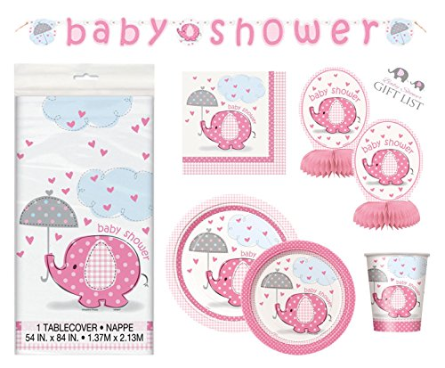 Umbrellaphants Girl Baby Shower Party Supplies Set - Pink Elephant Design - Plates, Cake Plates, Cups, Napkins & Decorations (Deluxe - Serves 16)]()