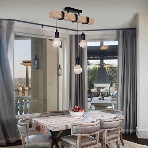 OYIPRO Madera Candelabros Retro Lamparas colgantes Ajustable E27 para mesa de comedor Restaurante Cocina (Sin bombilla)