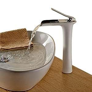 Beelee Latón Grifo de Lavabo Grifo Moderno Cascada Baño Cuarto de baño Cocina Pintura blanca Diseño Elegante