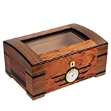 High-end Cedar Wood Glass Cigar Humidor with Lock Hygrometer Humidifier