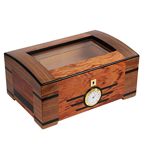 High-end Cedar Wood Glass Cigar Humidor with Lock Hygrometer Humidifier by CIGARISM