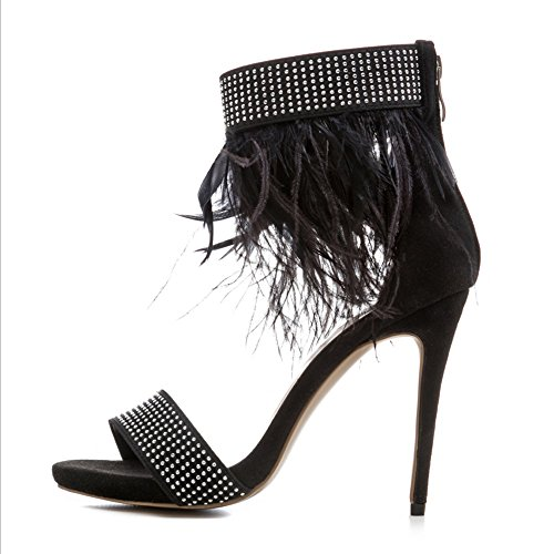 Fall punta Zapatos noche abierta pluma Comfort Black de Spring negro para boda tacón mujer GAOLIXIA de alto Sandalias banquete de Novedad Rivet dSwAqqIx7