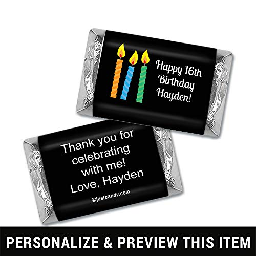Personalized Miniature Candy Bars - Birthday Personalized Hershey's Miniatures Wrappers - Lit Candles (100 Count Wrappers) Black