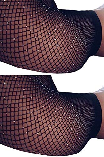 MERYLURE Black Fishnet Pantyhose 2 Pairs Women's Seamless Sheer Mesh Hollow Out Tights Stockings (One Size, Rhinestone/Small Hole,2 Pack)