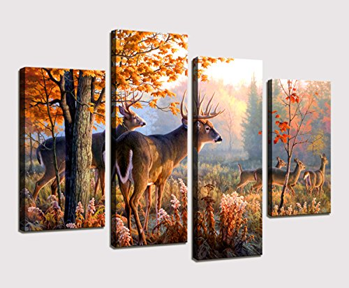 Moyedecor Art - 4 Panel Wall Art Whitetail Deer In Autumn Sunlight Forest Painting The Picture Prints On Canvas Animal Pictures For Home Decor Decoration Gift piece 4 Piece Saloon Girl