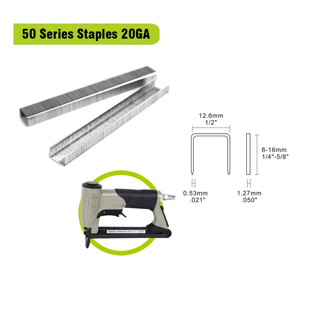 meite 20 Guage 50 Series 1//2-Inch Crown By Leg Length 3//8-Inch Galvanized Fine Wire Staples for Upholstery 5000pcs//Box 1-CASE PACK