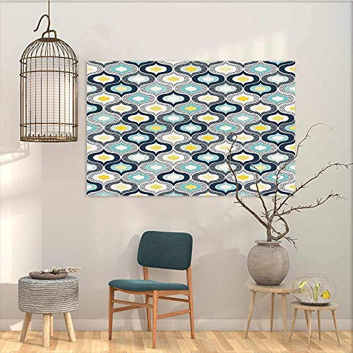 (Modern Decorative Painting Sticker Modern Geometric Morrocan Mediterrain Style Dots with Ornamental Details Image Print On Canvas Abstract Artwork Blue and White W47 xL31)