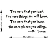 Dr.Seuss The More You Read Vinyl Decal Removable Wall Sticker Mural Home Decor