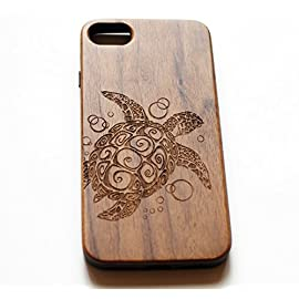 VIVIPOW Wood Phone Case Compatible iPhone 7 Case,Sea Turtle Phone Case Compatible iPhone 7 4.7 Inches 5 Unique Design:Pretty patten are carved in natural wood. Comfortable Design: nature wood and a high-quality plastic make for a comfortable and easy grip. Hybrid designed Case:3D TPU structure,Nature walnut wood at the back
