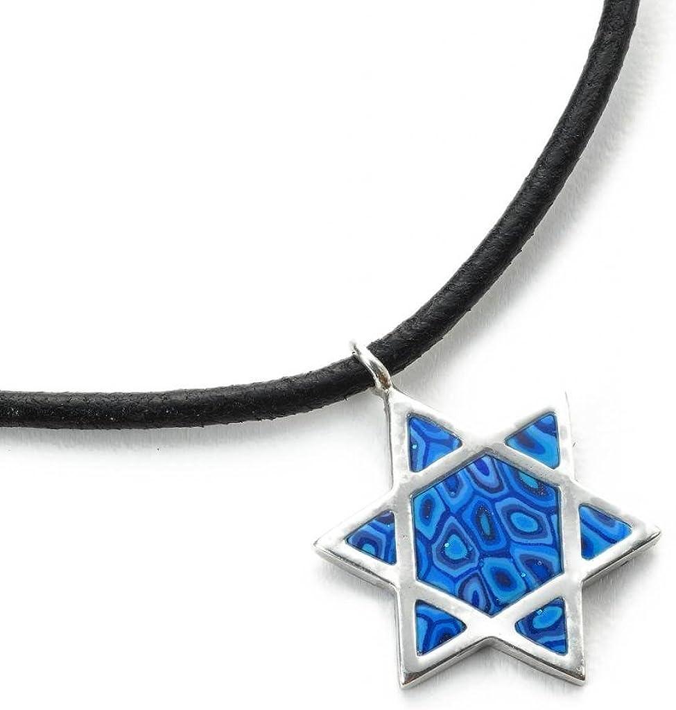 Collar con Estrella de David Azul para Hombre - Colgante de Plata con Estrella judía y cordón de Cuero - Joyas del judaísmo en Arcilla polimérica