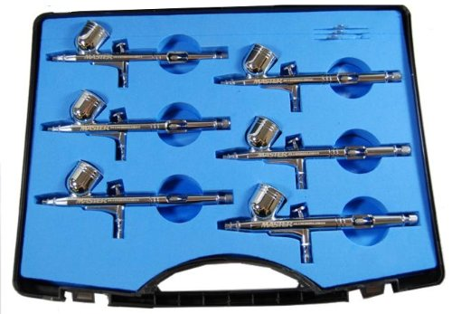 6 Pack Set of Multi-Purpose Precision Dual-Action Gravity Feed Airbrushes by Master Airbrush
