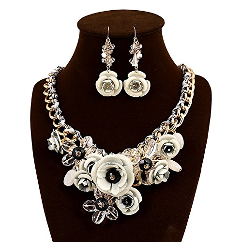 White Flower Necklace (truecharms Fashion Jewelry Sets Party Statement Crystal Flower Necklace and Earrings Set (White))