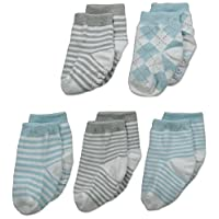 Mud Pie Baby Boy Sock Set, Blue and Gray, 0-12 Months