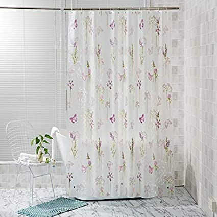 YUMIKO Shower Curtain Translucent Half Clear Semi Transparent Purple Flowers Floral Leaf Butterfly Pretty Elegant Pattern