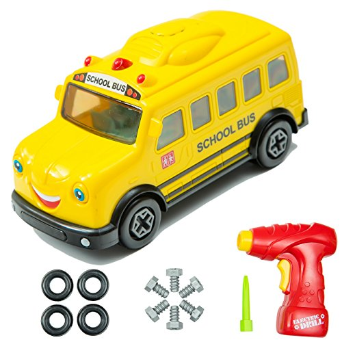 Innovative Brain School Bus Take-A-Part Toy For Kids with 15 Take Apart Pieces | Build Your Own Bus Construction Set | Develop Fine Motor Skills And Hand-Eye Coordination For Children (Fine Motor Activities For Preschoolers Halloween)