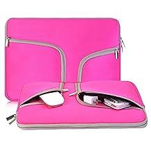 egiant 14-15.4 Inch Laptop Chromebook Case Sleeve ,Waterproof Neoprene Zipper Briefcase Carrying Cases Bag for Laptops Notebook Computers Macbook Pro 15 (Rose Red)