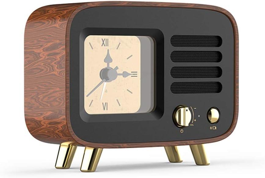 Altavoz Bluetooth Nogal/Reproductor de música Retro con función de Alarma de Reloj, Sonido HD, Adecuado para la decoración del hogar Regalos de cumpleaños: Amazon.es: Hogar