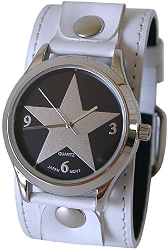 (Urban Xpress Round Men's Star Watch - Black White Studded Leather Cuff Band)