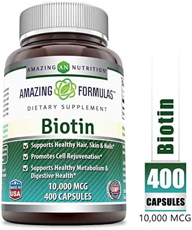 Amazing Formulas Biotin - 10000 MCG, 400 Capsules - Supports Healthy Hair, Skin & Nails - Promotes Cell Rejuvenation - Supports Healthy Metabolism & Digestive Health.