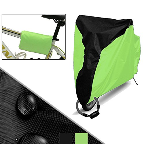 Bike Cover,Cheaboom Bicycle Cover Waterproof Dust Rain Cover Wind Proof Anti Sun Indoor Outdoor Protection Enlarge with Lock-hole Storage Bag Large XL Size Heavy Duty 210D Oxford Fabric (Green, 210D)