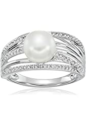 Sterling Silver Freshwater Cultured Pearl Diamond Ring (1/4cttw, I-J Color, I2-I3 Clarity), Size 7