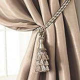 "Elrene Home Fashions 026865902518 Tassel Tieback Rope Cord Fabric Single Window Curtain Treatment Drape Accessories, 24"", Ivory"