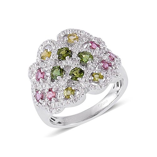 Green Tourmaline, Multi Gemstone Rhodium Plated Silver Cluster Ring 1.6 cttw Size 7 (Gemstone Ring Cluster Multi)