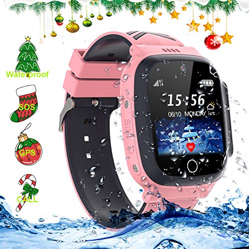 LDB Direct Kids Waterproof Smartwatches,LBS/GPS Tracker SOS Call Voice Chatting Two Way Call Smart Watch Phone with Games Touch Screen for Children 3-12 Girls Boys Christmas Birthday Gift (Pink)