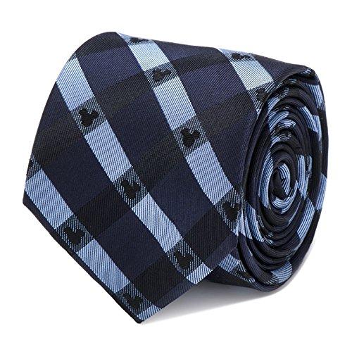 Ties Necktie Logo Silk (Disney Mickey Mouse Logo Blue Plaid Tie Necktie Neckwear)