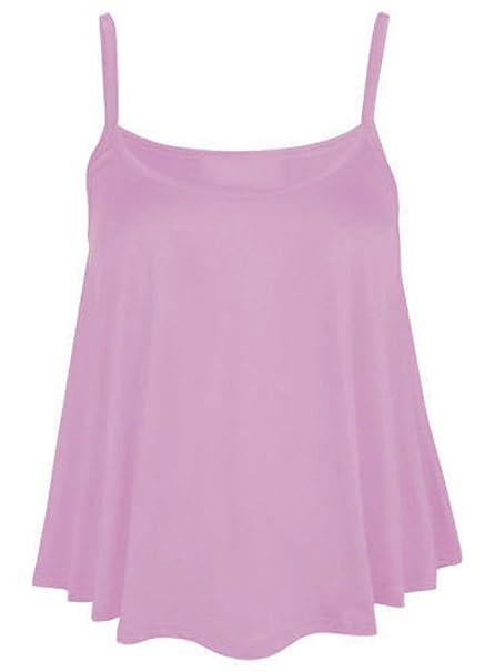 43a05c5efd76f New Womens Plain Swing Vest Sleeveless Strappy Cami Ladies Plus Size Flared  Top size Uk 8-30  Amazon.co.uk  Clothing